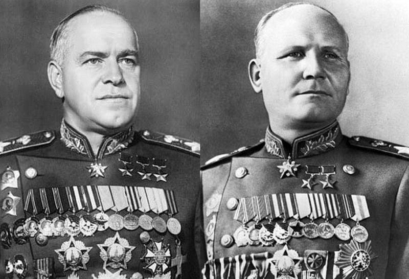 Командующий 1-м Белорусским фронтом маршал Георгий Жуков и командующий 1-м Украинским фронтом маршал Иван Конев, которым выпала честь брать Берлин