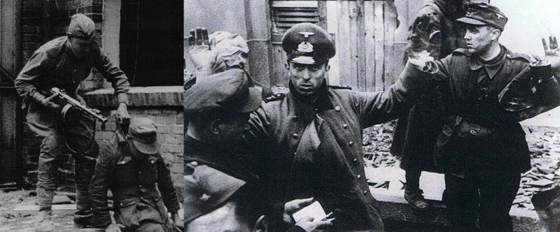 Пленение гитлеровцев и фолькштурмовцев в Берлине.