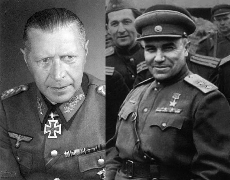 Последний гитлеровский комендант Берлина Гельмут Вейдлинг и первый советский комендант Николай Берзарин