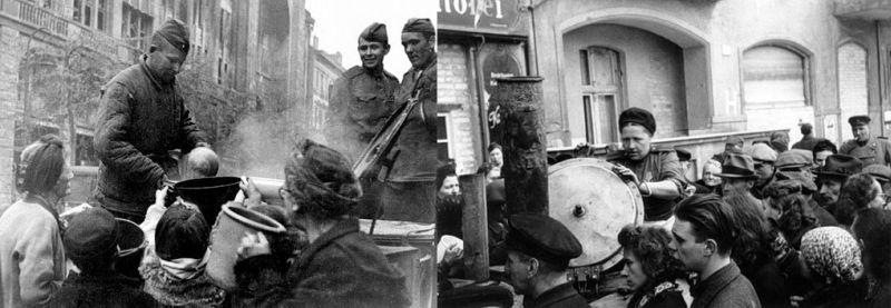 Сразу же после окончания боёв полевые кухни РККА начали раздачу пищи берлинцам.