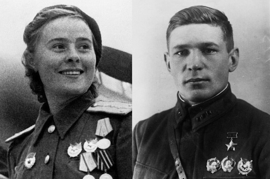 Лётчики, сражавшиеся на «Пе-2», Герои Советского Союза Мария Долина и Борис Быстрых