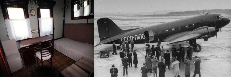 Литерный поезд № 501 и «Дуглас» С-47, на которых добирался до Тегерана советский лидер.