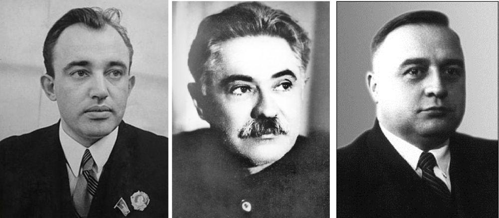 Первые руководители НКИД-МИД УССР А.Е. Корнейчук, Д.З. Мануильский, А.М. Барановский