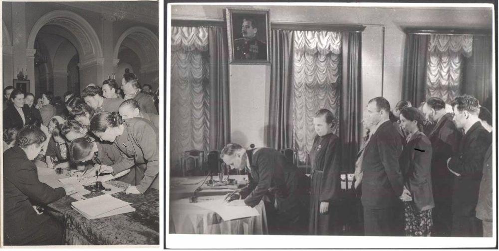 Советские граждане подписывают Стокгольмское воззвание к миру, 1950 год