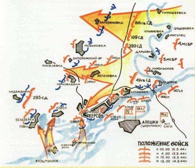 Карта Березнеговато-Снигирёвской операции