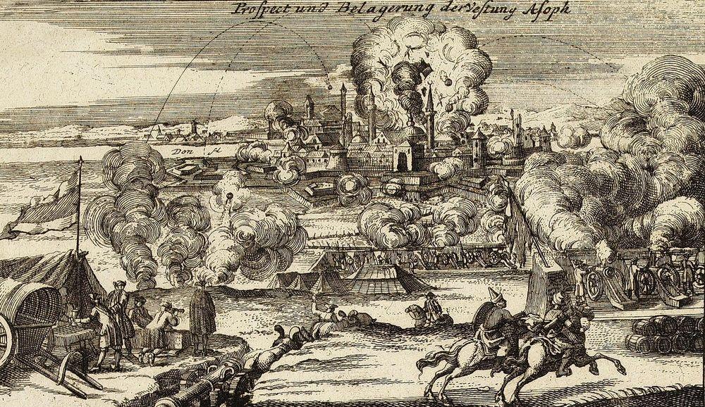 «Осада Азова в 1736 году». На старинной гравюре здесь изображён момент взрыва порохового погреба в крепости во время бомбардировки 19 июня 1736 года