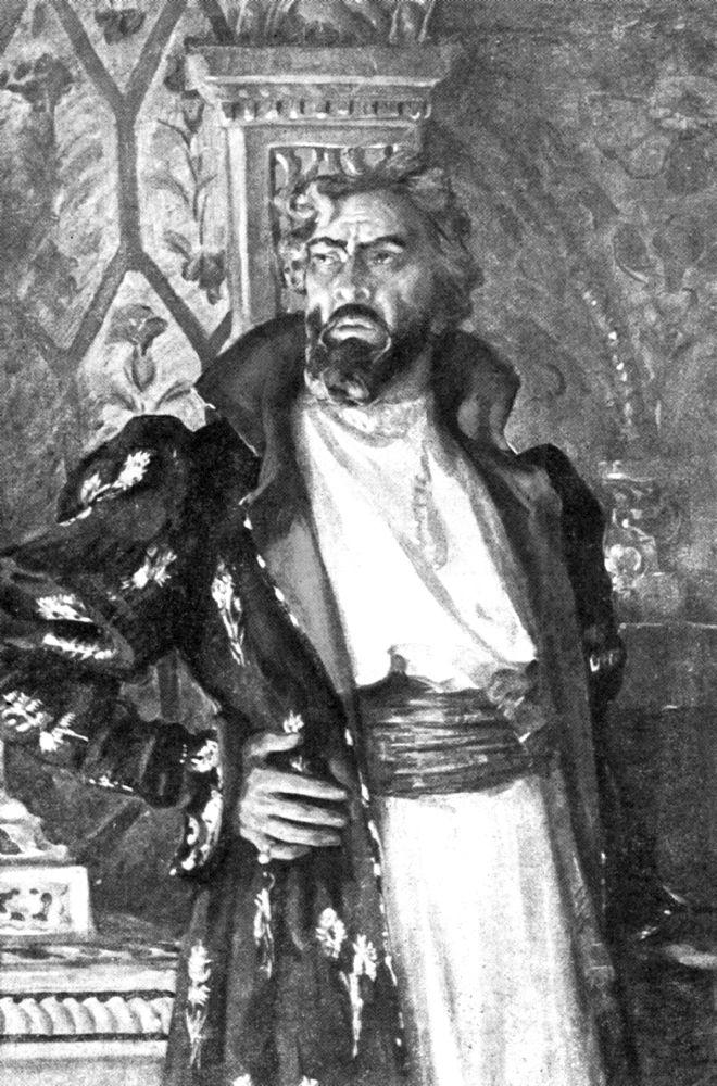 Шаляпин в роли Бориса Годунова. Портрет работы Николая Харитонова