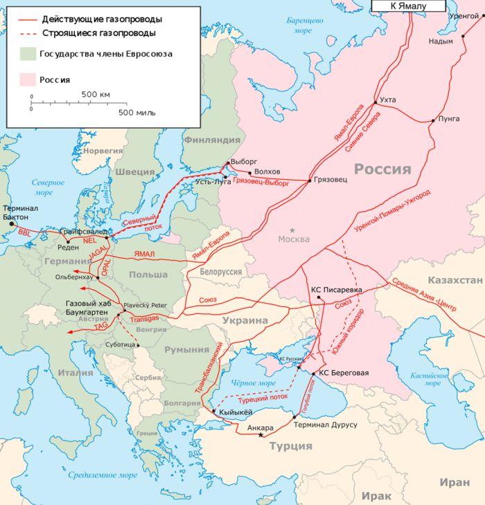 Mapa dos gasodutos da Europa