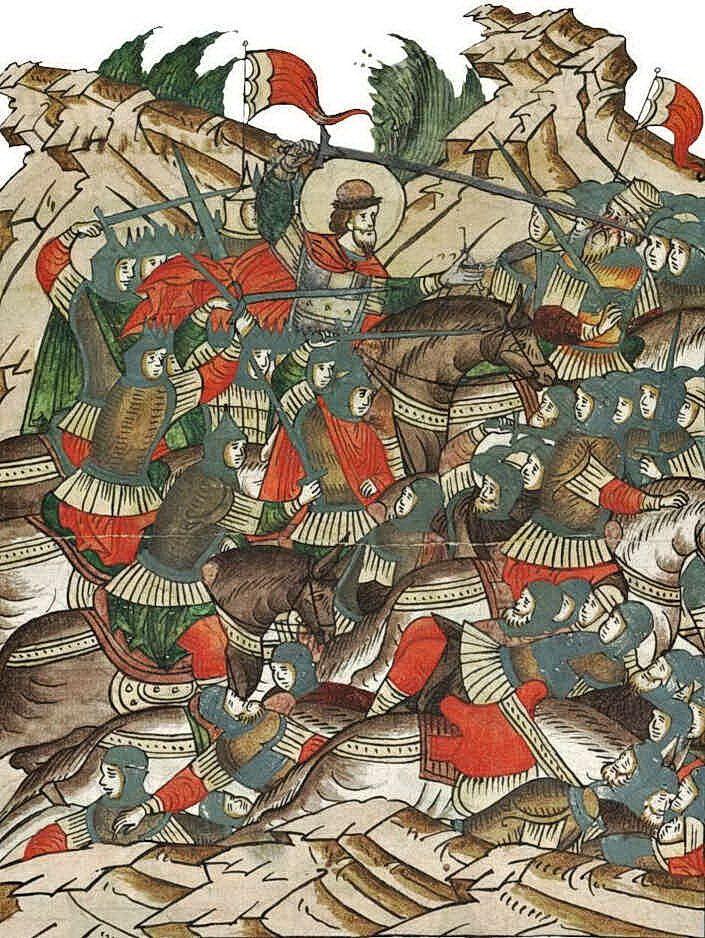 Невская битва. Миниатюра из лицевого летописного свода