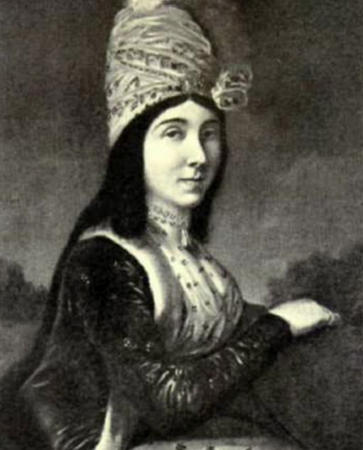 Ангелина Качиони (жена Ламбро Качиони) . Портрет кисти И.Б. Лампи-младшего. 1796 г.