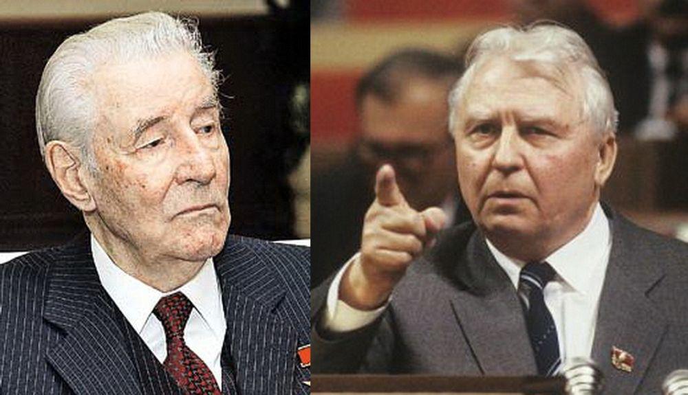 М.С. Соломенцев (слева) и Е.К. Лигачёв – инициаторы антиалкогольной кампании в СССР 1985-1988 годов.