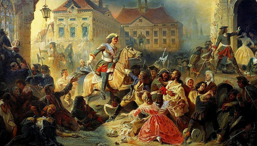 «Пётр I усмиряет своих солдат после взятия Нарвы в 1704 году». Художник Николай Зауервейд. Фрагмент картины