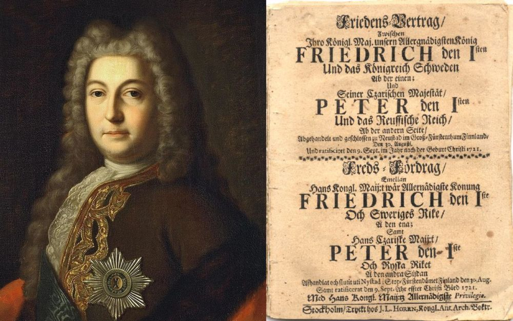Выдающийся русский дипломат Генрих Иоганн Фридрих (Андрей Иванович) Остерман и титульный лист Ништадтского мирного договора