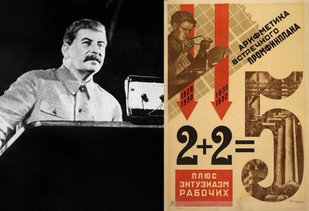 Выступает И.В. Сталин. Справа – плакат 1-й пятилетки