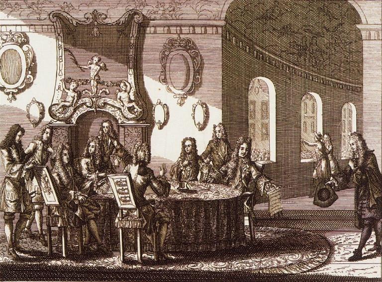 «Подписание Ништадтского мирного договора». Гравюра Питера Шенка (младшего). 1721 г.